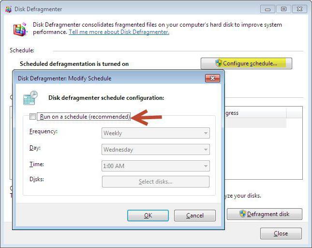 standard hard disk defragmentation tool