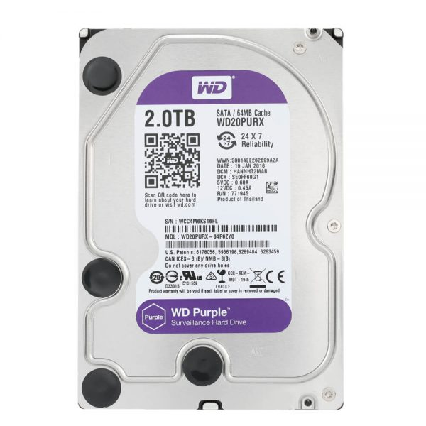 WD HDD 2 TB Purple 3.5in