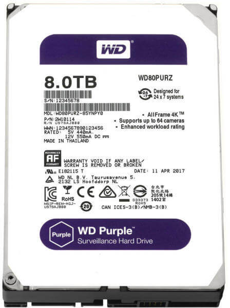 WD HDD 8 TB Purple 3.5in