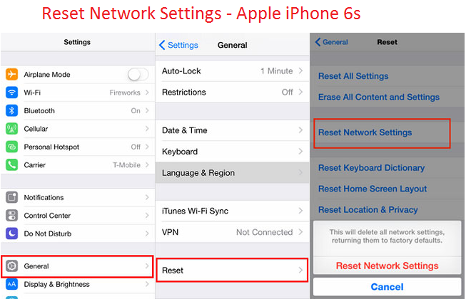Reset Network Settings -iPhone 6s